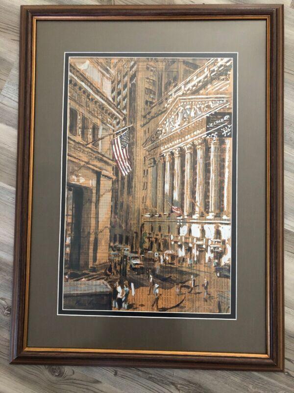 Beau Redmond Original Wall Street Newspaper Art