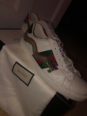 MEN'S GUCCI Dragon Ace embroidered leather TRAINERS SIZE 9/43+BOX & SHOE COVERS