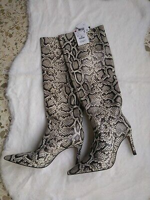ZARA SOLD OUT SNAKE ANIMAL PRINT LEATHER HEELED BOOTS BNWT UK 4 EU 37, used for sale  Shipping to Ireland