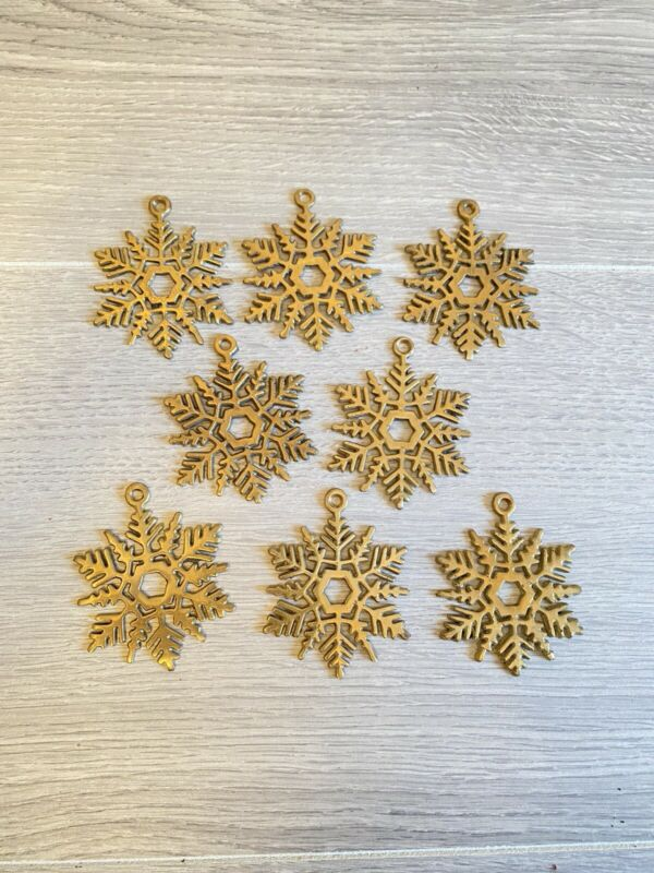"Vintage Lot of 8 Brass Snowflake Ornaments Metal 2.3"" Mid Century"