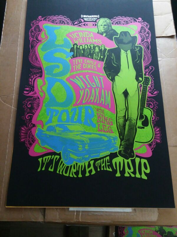 "LUCINDA WILLIAMS/STEVE EARLE/DWIGHT YOAKAM ""LSD TOUR""2018 HOUSTON CONCERT POSTER"