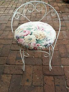 Vintage wrought iron bedroom chair with floral cushion Goodwood Unley Area Preview