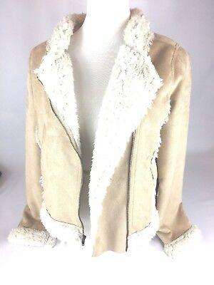 Old Navy Girls MOTO Faux-Shearling Suede Sherpa Jacket Coat Size 16 XXL - - Girls Faux Shearling Coats