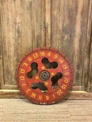 26'' Vintage RED Wooden Carnival Game Wheel Carnival Game Wheel