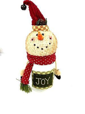 Fabric Snowman Joy Candy Plastic Jar Gift Holder food storage craft supply - Halloween Candy Jar Crafts