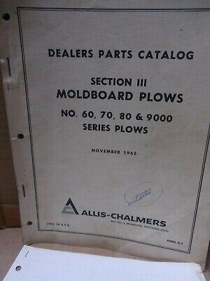 Allis-chalmers Parts Catalog Sec Ii Moldboard Plows No. 60 70 80 9000 Plows