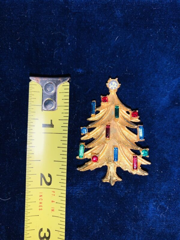 Vintage Mamselle Signed Christmas Tree Pin Brooch- Rhinestones Baguette Candles