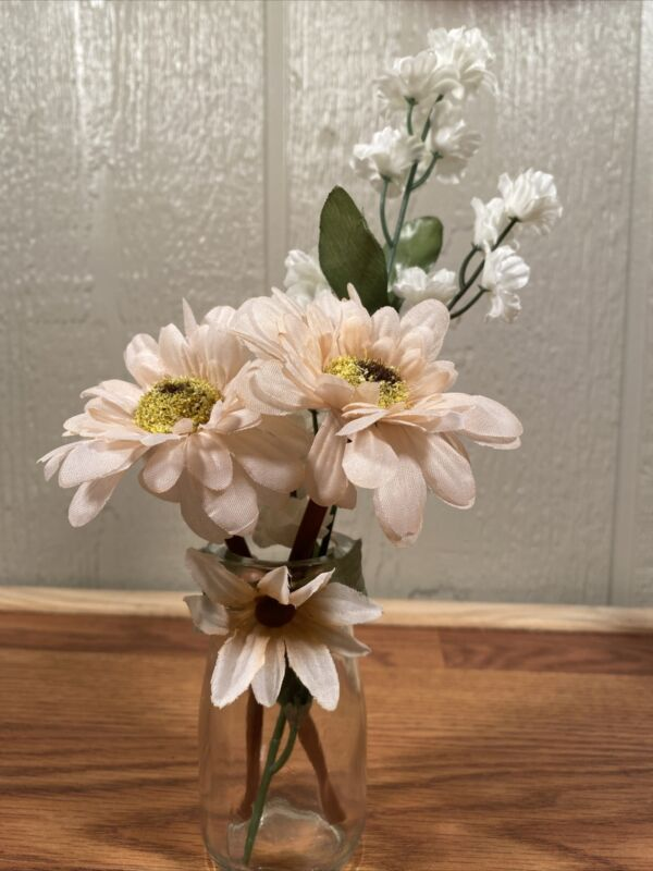 Small Decorative Vase With A Gorgeous Variety Of Flowers- Very Cute Decoration!