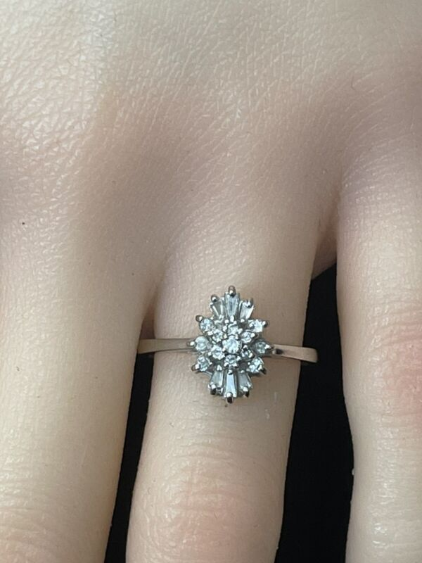 14k White Gold Diamond Cocktail Ring 19 Diamonds Offered by AITUZZI JEWELRY