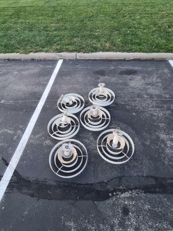 Prescolite 6 set Mid Century Modern Saturn 3 ring hanging light Kurt Versen