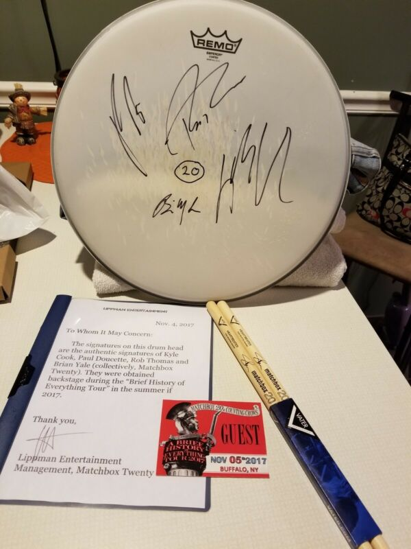 Matchbox 20 Signed Drum Head/Authenticity/drum sticks (Counting Crows 2017)
