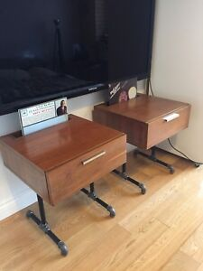 MID CENTURY MODERN INDUSTRIAL ENTERTAINMENT UNIT TABLES VINTAGE