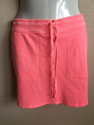 New Polo Ralph Lauren S M Skirt French Terry Pony Logo Neon Rose Drawstring