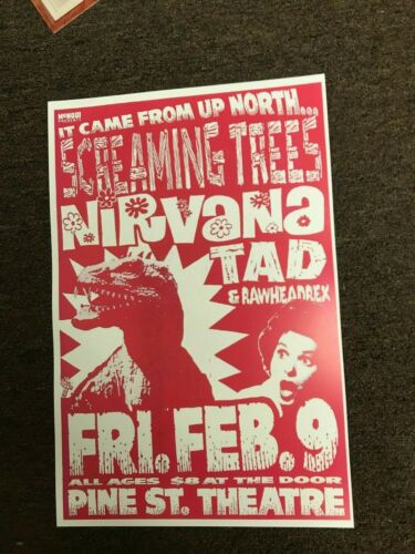 Nirvana Screaming Trees Tad 1990 Cardstock Concert Poster 12x18
