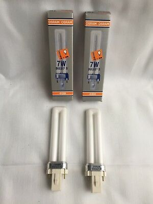 Lot of 2 OSRAM Fluorescent Compact Lamp Dulux S 7W Bulb F7TT/41K Base G23 2-Pin