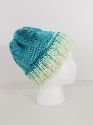 - Hand Made Teal KNIT HAT Women's/Men's NEW  Winter Home Made Ski