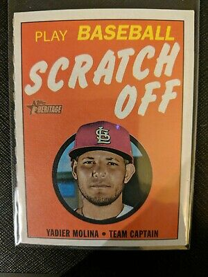 2019 Topps Heritage Scratch Off Game - Yadier Molina #7 of 15