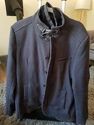 Mens zara leather jacket xxl UK Grey/ brown leather trim