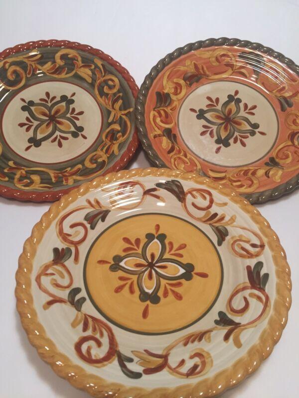 Artimino TUSCAN COUNTRYSIDE SIENNA Sage Terracotta Cream Dinner Plates Set Three