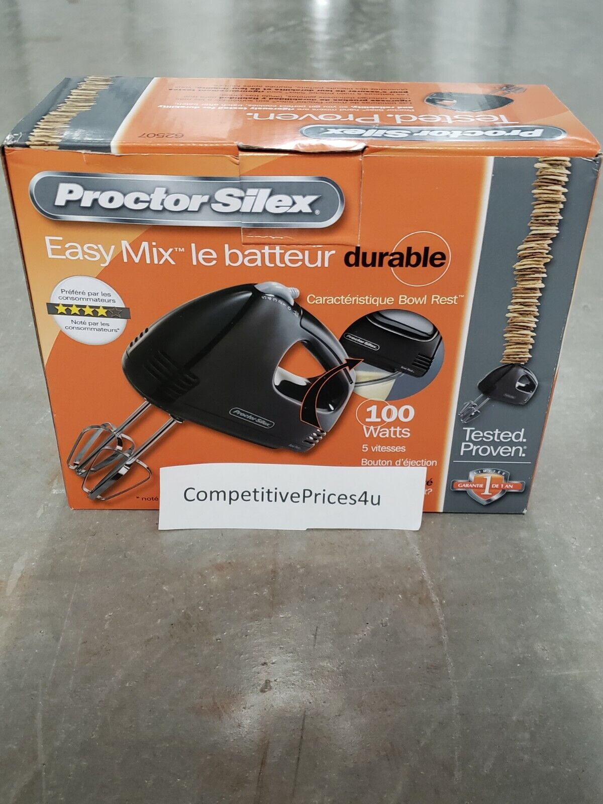 Proctor Silex 5 speed hand mixer with Chrome beaters NIB Fas