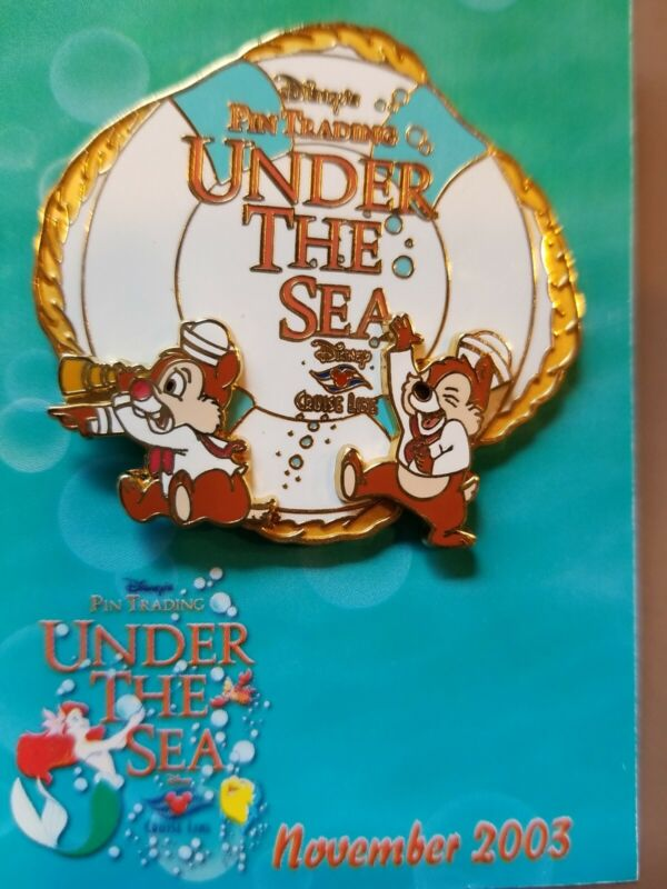 DISNEY PIN LE DCL TRADING UNDER THE SEA EVENT CHIP AND DALE LIFE PRESERVER RARE