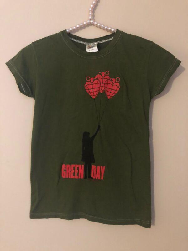 NWT Green Day American Idiot Balloon Girl Juniors Size Small Tee Shirt Green