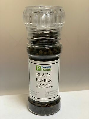 BLACK PEPPERCORNS WHOLE 2 OZ PREMIUM QUALITY WITH GRINDER -
