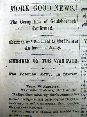 1865 Civil War headline newspaper Union troops capture GOLDSBORO North Carolina