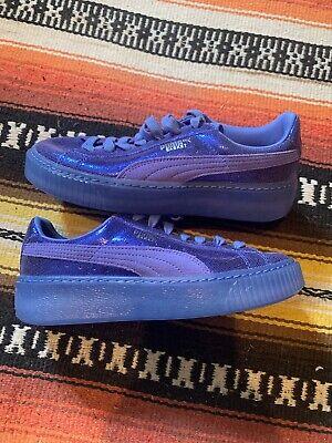 puma basket platform women Shoes Size 7 Reflective Sparkle Purple/blue