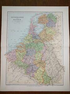 STANFORDS Map 1896 NETHERLANDS BELGIUM Old Antique AMSTERDAM ANTWERP MAPZ