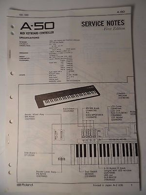 Original ROLAND Service Notes-  A-50 Midi Keyboard Controller , used for sale  Shipping to India