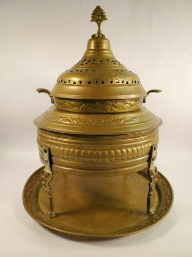 "Large Antique Moroccan Turkish Brass Incense Burner Brazier 23""H x 19"" W MCM"
