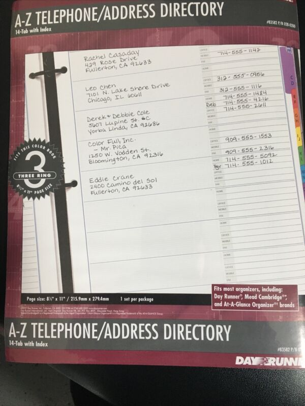 Day Runner A-Z Telephone/Address Directory- 8 1/2 x 11, fits 3 ring, 14 tab