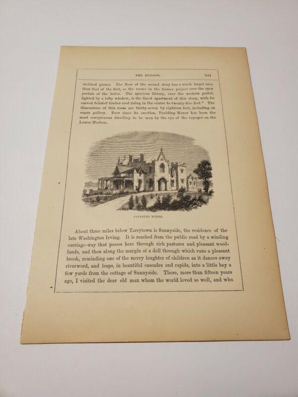 Paulding Manor & Sunnyside New York c. 1866 Engraving