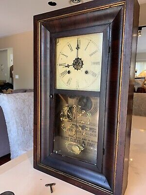 Antique 1860s Waterbury Painted Shelf Mantle Clock
