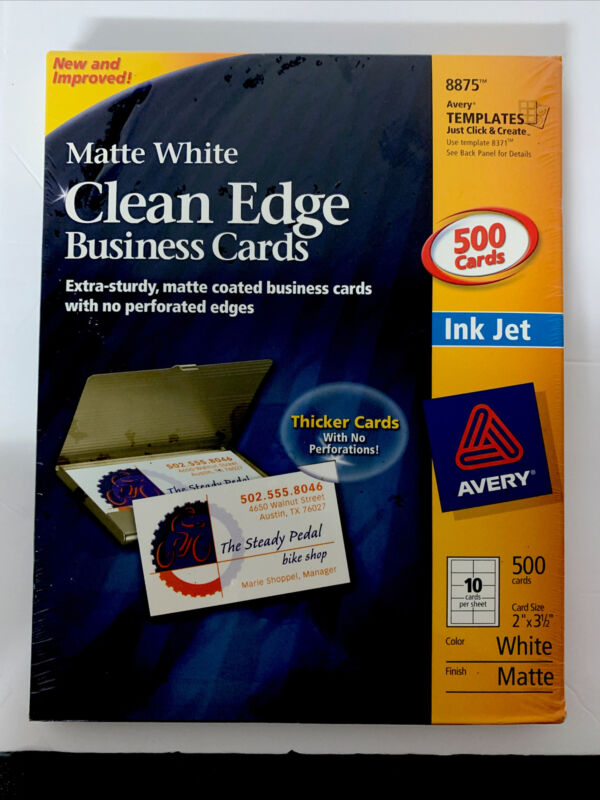 NEW AVERY 8875 CLEAN EDGE BUSINESS CARDS! 500 Count Inkjet Matte White 2 x 3 1/2
