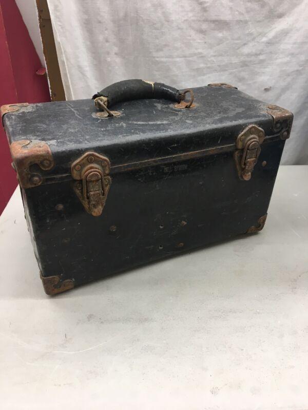 Vintage Bell System-B Telephone Lineman Repairman Black Tool Box Hard Case
