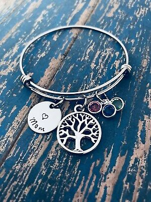Family Tree Mother's Day Birthstone Bangle Bracelet Mom Grandma Gift Present