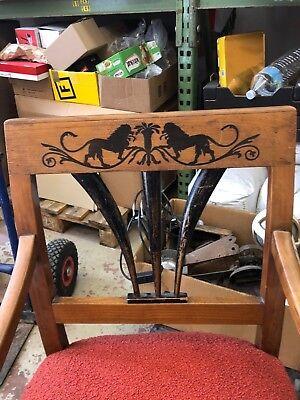Biedermeier Antiker Armlehnen Stuhl mit Löwenverzierung Holz RAR