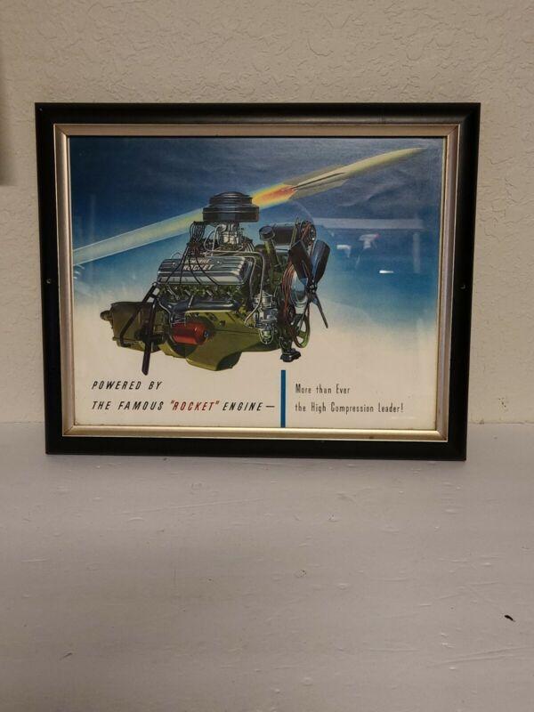 """Vintage Oldsmobile Framed 13"""" x 16"""" Advertising Poster/Picture - Rocket Engine"""