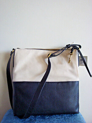 - FOSSIL Charlotte Hobo Crossbody Shoulder Bag~Black/White~NWT!!!MSRP$148