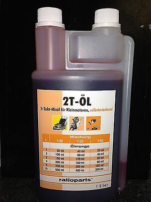 Ratioparts Mischöl 2-T-Mix Öl 1L Dosierflasche Motorsäge Kettensäge 2Takt Neu!