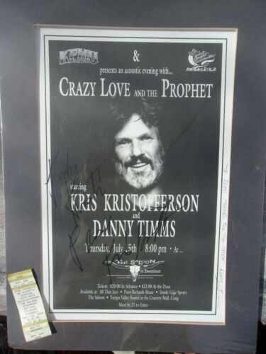 Kris Kristofferson & Danny Timms Signed Concert Poster with Ticket