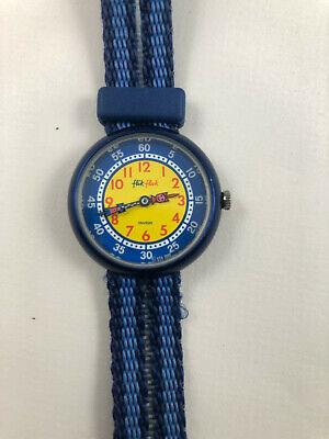 Vintage 1988 Kids Flik Flak Swiss Quartz  Blue Yellow Watch by Swatch #478