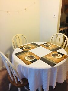 Couch and Solid Wood Dining Table in Excellent Condition