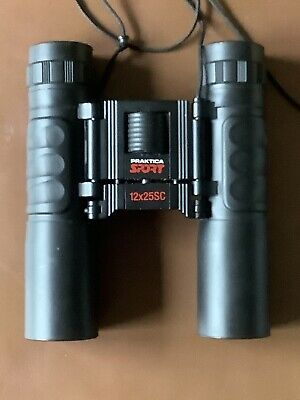 PRAKTICA Black 'Sport' 12 x 25 SC Folding Compact Binoculars With Case, Used
