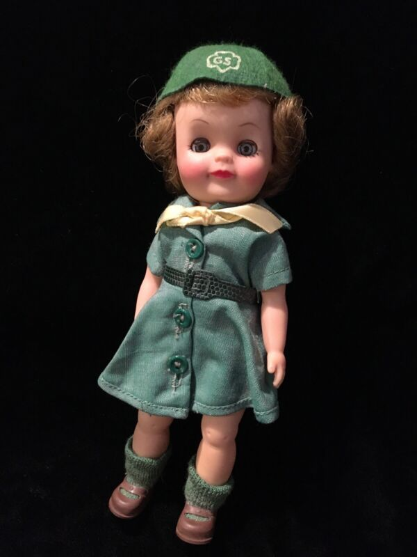 """1965 Vintage 8"""" Effanbee Junior Girl Scout Doll Lovely Condition"""