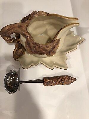 RARE Ellen Evans Pottery Terrafirma Ivory Vine/Grapes Gravy Boat, Plate, Ladle