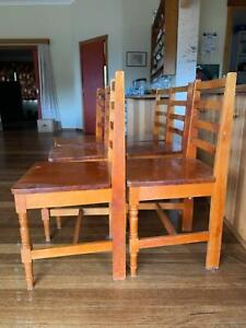 Solid Huon Pine dining table and 6 chairs