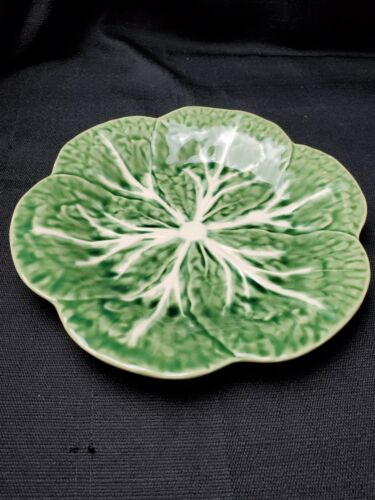 "Bordallo Pinheiro Portugal Majolica Cabbage Green Leaf 9 1/4"" Lunch Salad Plate"